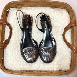 EUC MaxStudio Silver Leather Flat Sling Back Shoes